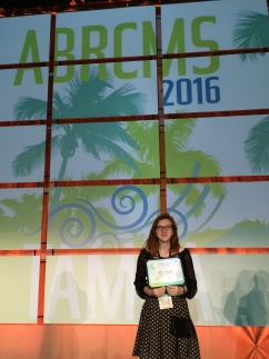 Shelby Shankel with her poster award at the 2016 ABRCMS meeting in Tampa, Florida